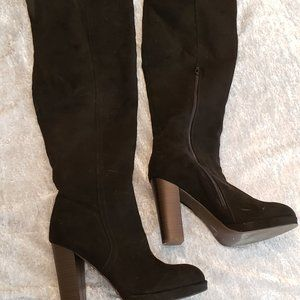Black Faux Suede Over-the-Knee Boots (Size 8)